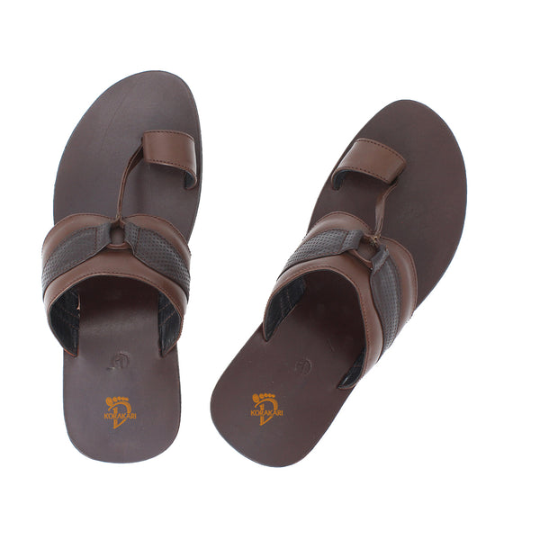 Simple Handmade Brown Leather Gents Chappal KRKA-S-049