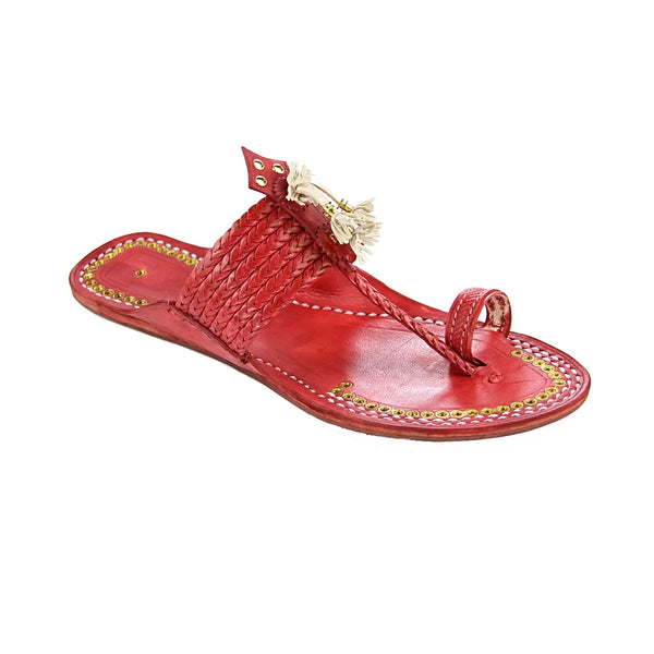 Outstanding designer's six braided cherry red golden rivets ladies kolhapuri chappal