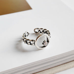 Circle and Crystal Ring