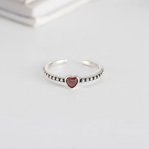 Red Heart Minimalist Ring