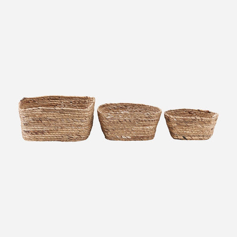 House doctor Basket, Nangloi, Natural, Set of 3 sizes - NordlyHome.dk