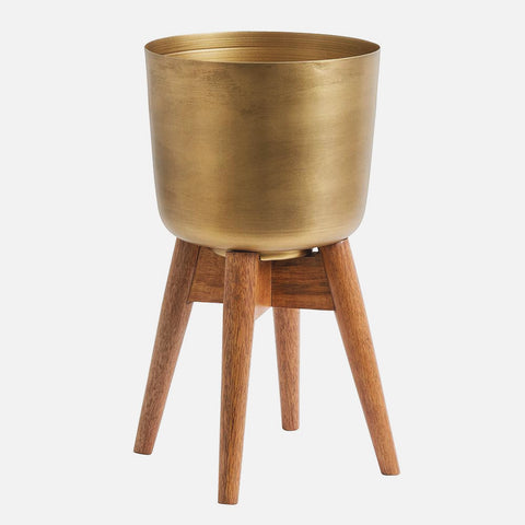 Nordal Planter on stand, medium, brass/wood - NordlyHome.dk