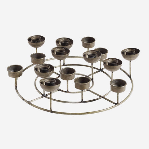 Nordal Round t-light+candle holder, ant. - NordlyHome.dk