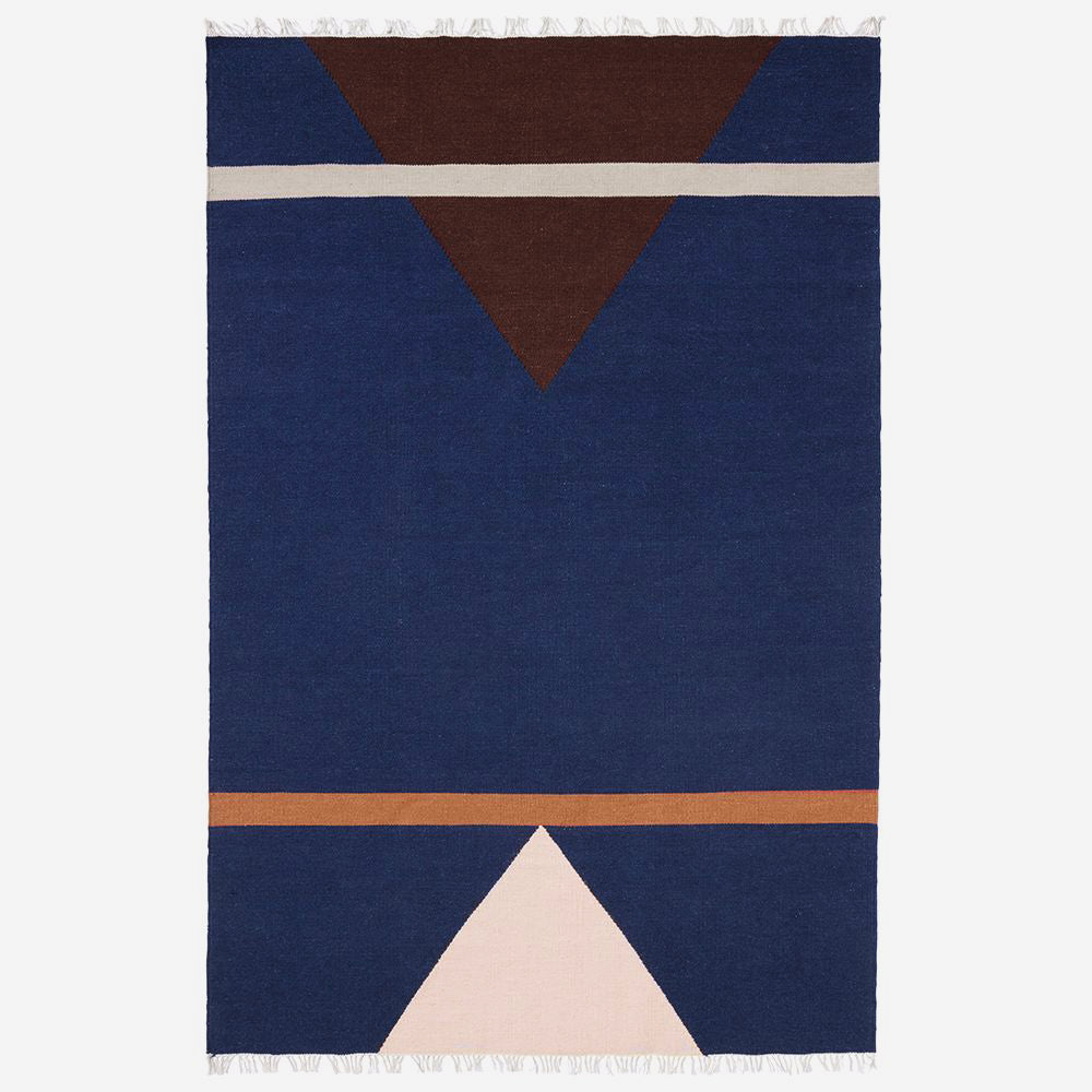 Image of   SHARP woven rug, blue/pink/wine red