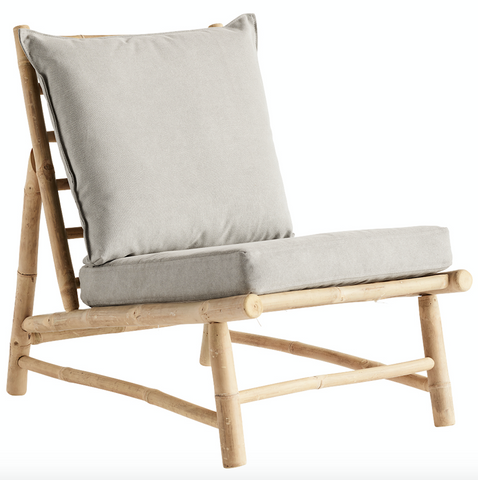 Tine K. Home Bamboo lounge stol m. pude W55x87xH45/80cm - NordlyHome.dk