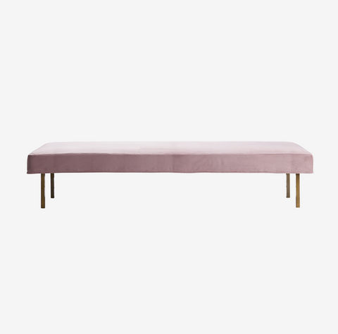 Velour daybed med ben i messing, rosa