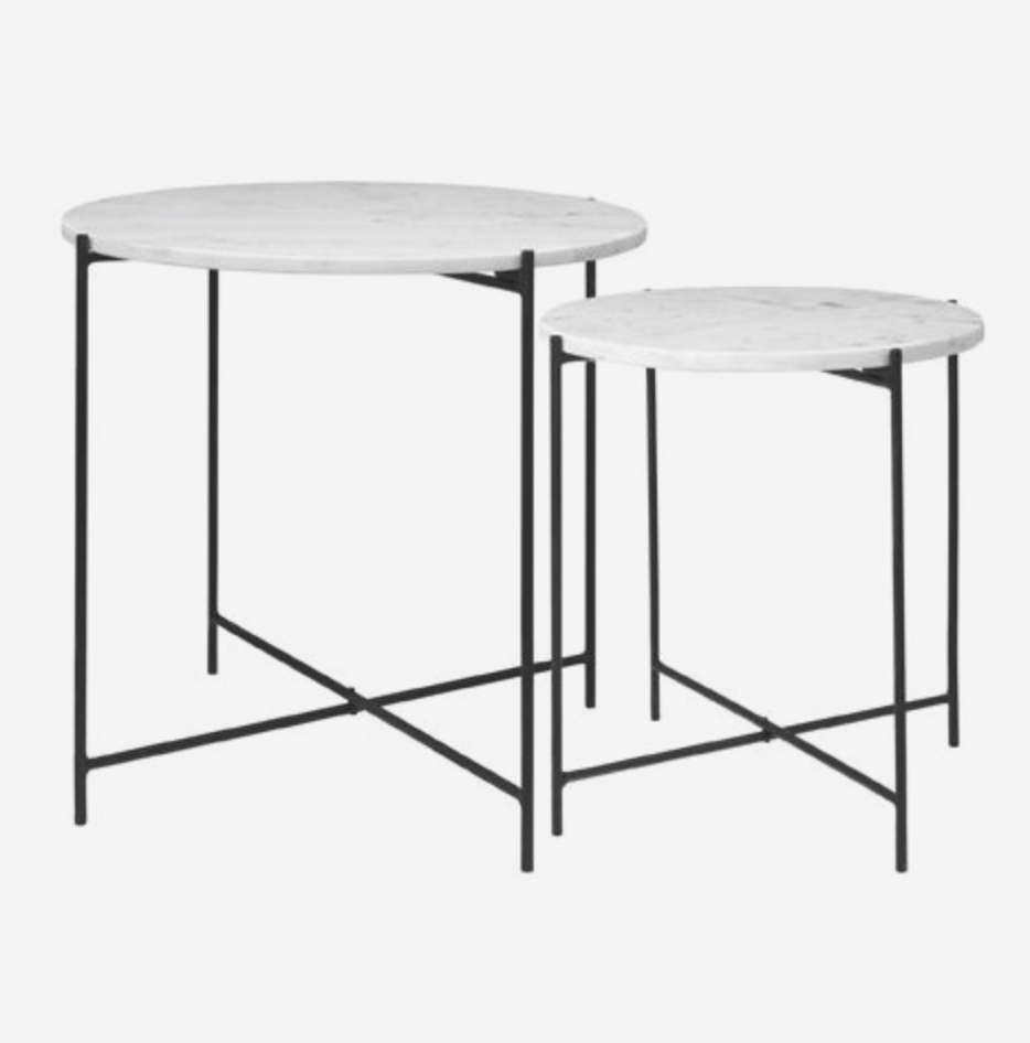 Freja Marble Table - WHITE w. Black - S2