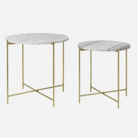 Cozy Living Marble Table - BEIGE/BRASS - S2 - NordlyHome.dk