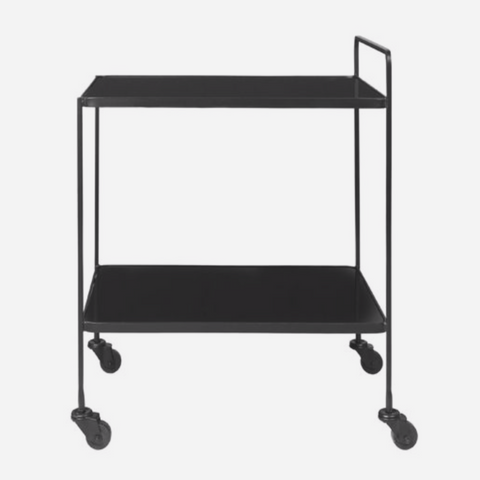 Anne Bar Cart - glass BLACK