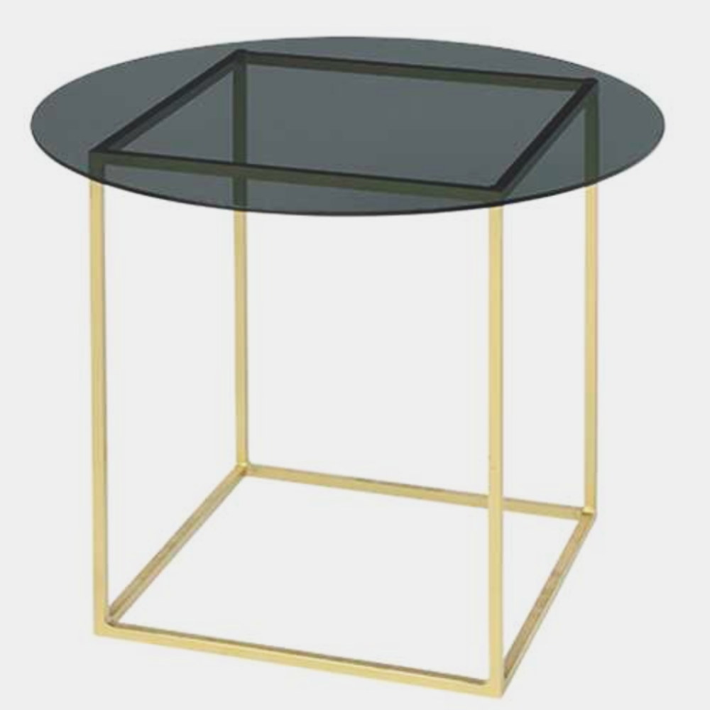 Table freddy iron/glass top brass/smoke glass top fra broste copenhagen på nordlyhome.dk