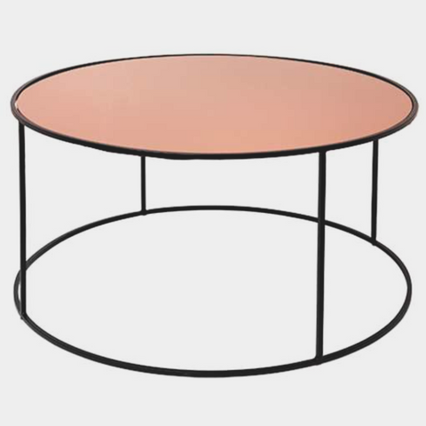 TABLE 'STENDS' IRON/GLASS BLACK/ROSE GOLD TOP