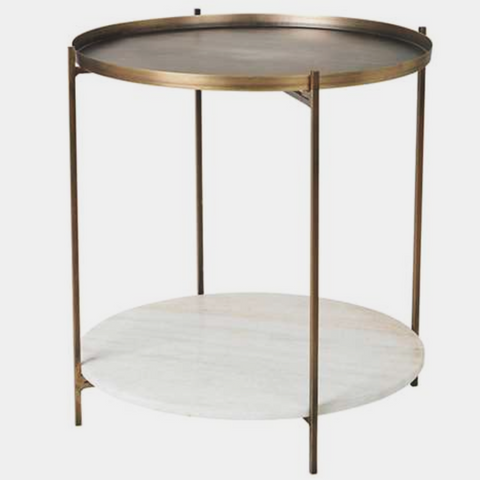 TABLE 'TRISTAN' MARBLE/IRON BRASS ANT. W/WHITE MARBLE
