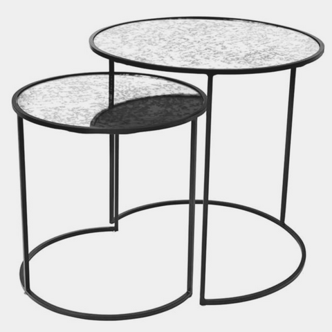 TABLE 'STENDS' IRON/GLASS BLACK