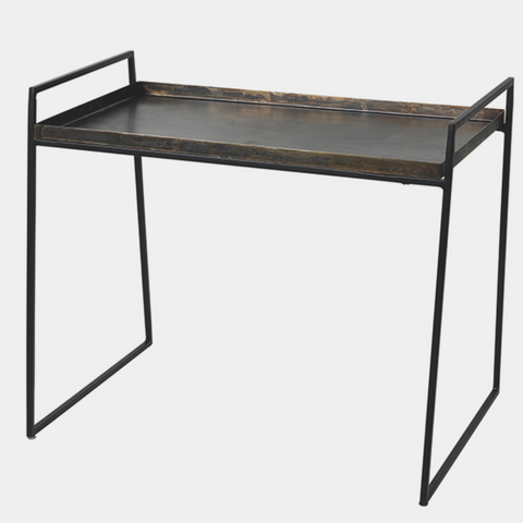 FLOWER BENCH IRON/ALUMINIUM BLACK/ANTIQUE ZINC TOP