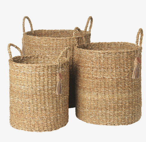 Cozy Living Hogla Seagrass Sara Baskets - Round Tall set of 3 - NordlyHome.dk