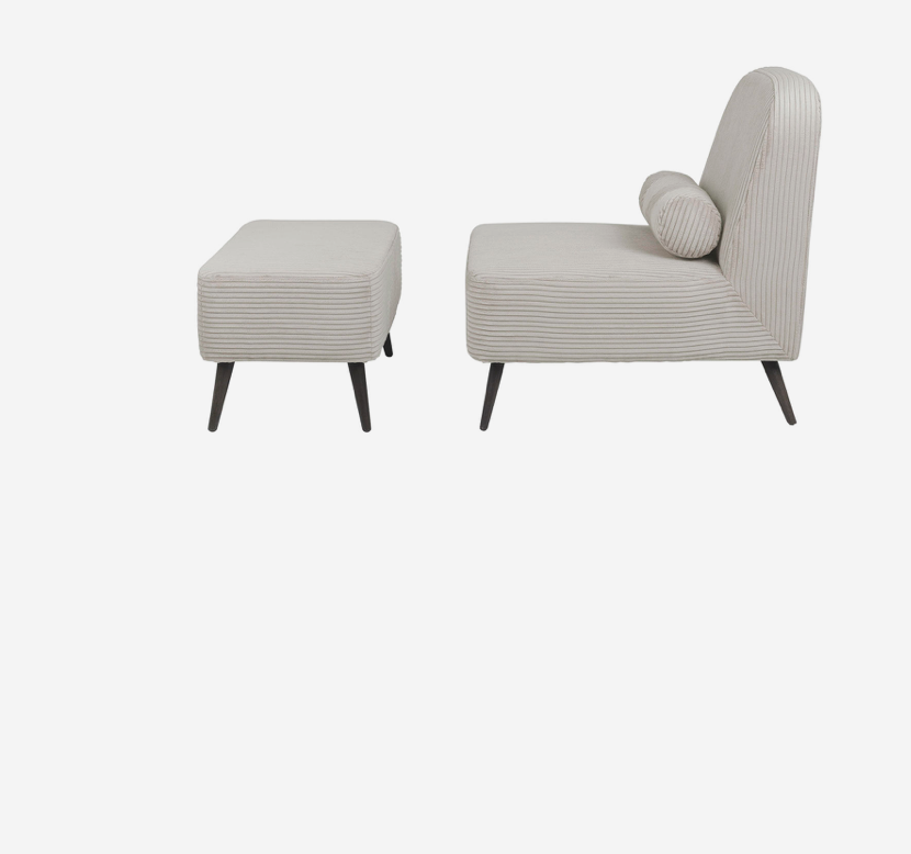 cozy living – Jagger chair and pouf desert* fra nordlyhome.dk