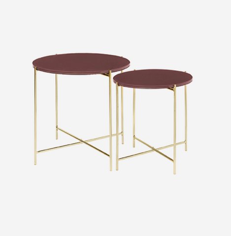 Cozy Living Glass Table-MAHOGA/Brass-SET2 - NordlyHome.dk