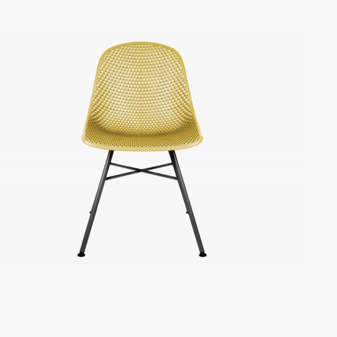 Dining chair Diamond Mesh ochre yellow