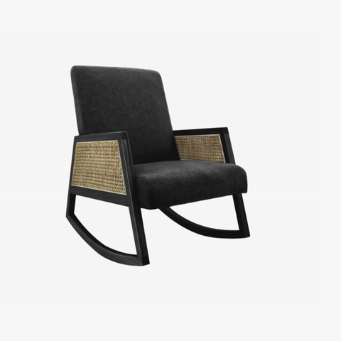 Rocking chair Retro Webbing black