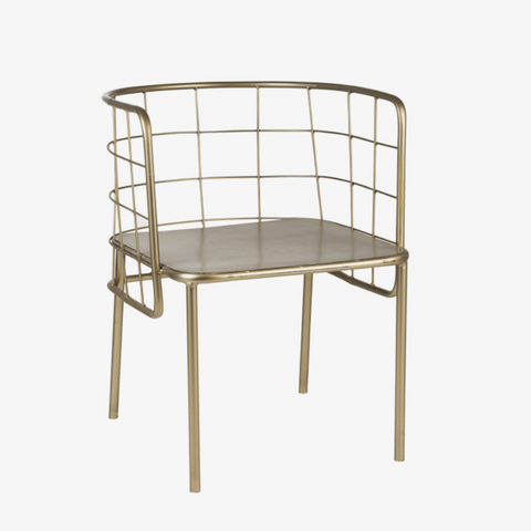 CHAIR TUB SHAPE METAL GOLD