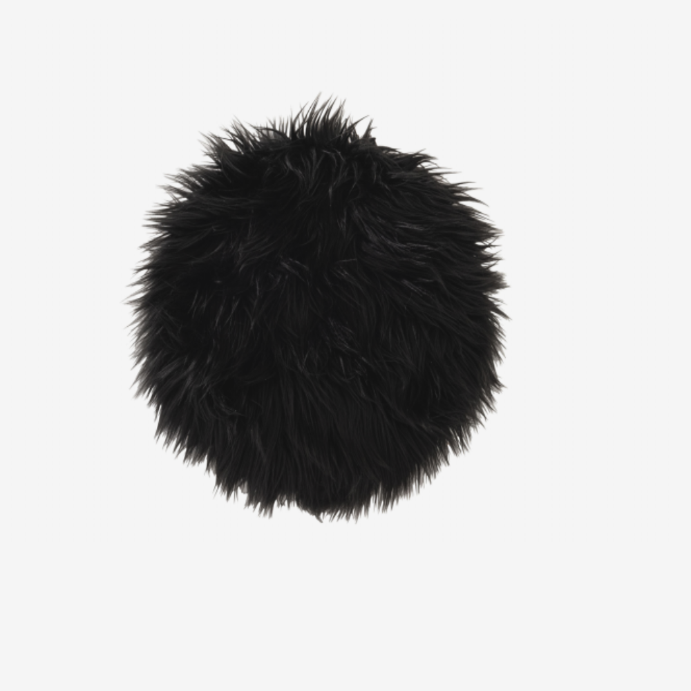 Image of   CUSHION CHAIR RND FAKE FUR BL