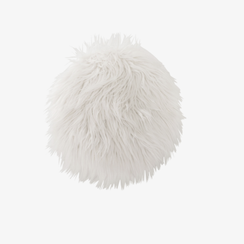 Image of   CUSHION CHAIR RND FAKE FUR WH