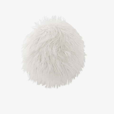 CUSHION CHAIR RND FAKE FUR WH