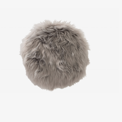 CUSHION CHAIR RND FAKE FUR GRY