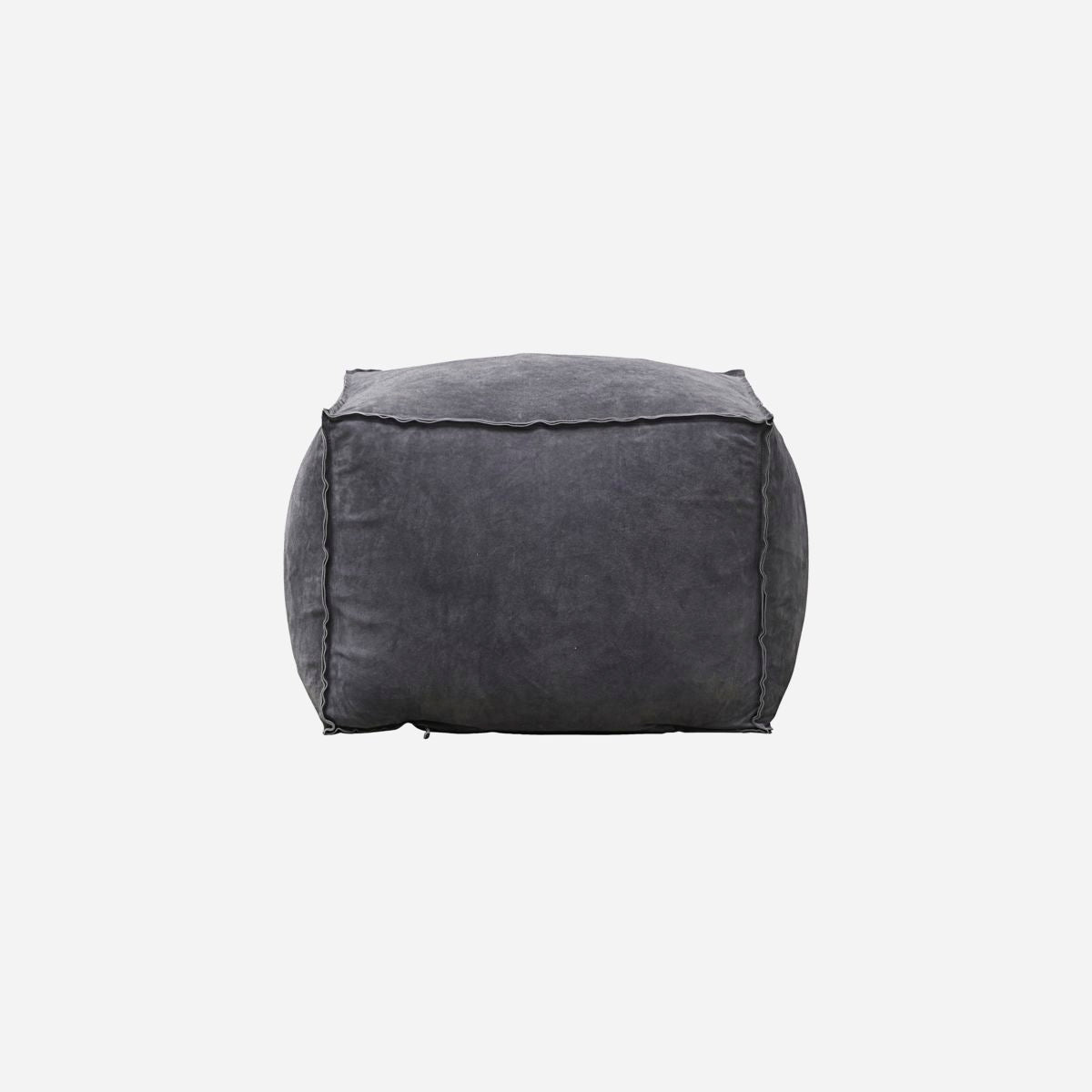 Image of   Pouf, Suede, Grey/Blue
