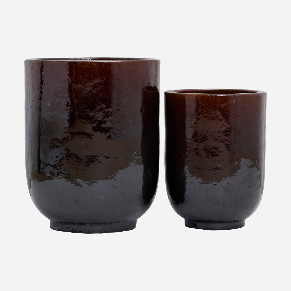 Image of   Planter, Pho, Dark brown, Set of 2 sizes, Finish/Colour may vary
