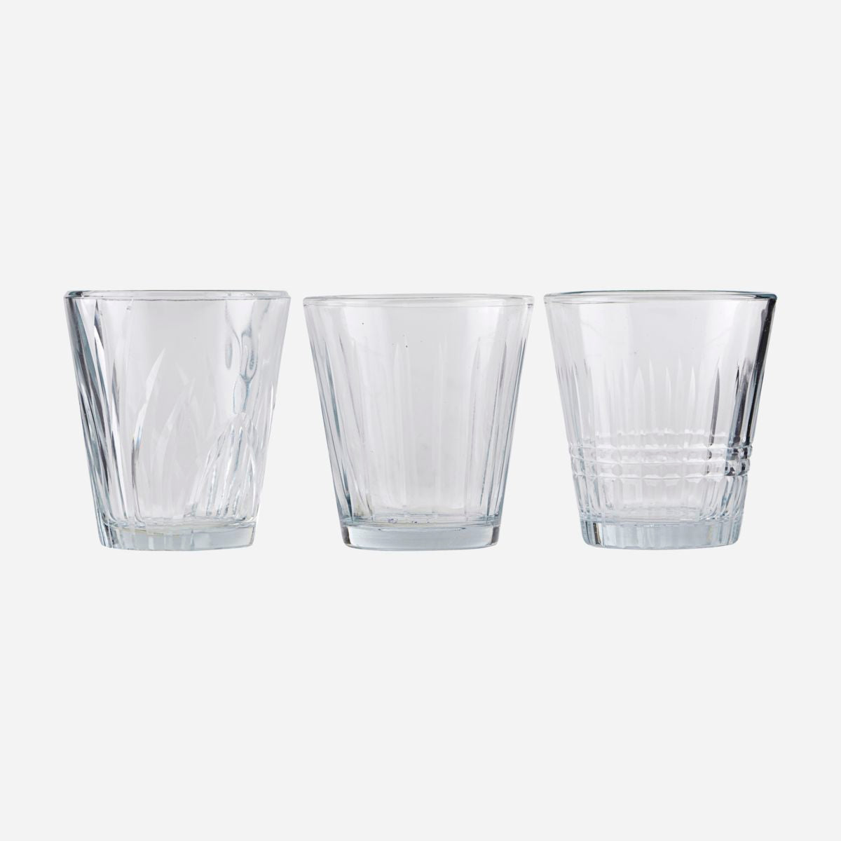 Image of   Glass, Vintage, Clear, 6 pcs/pack, Set of 3 designs
