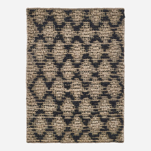 House doctor Rug, Harlequin, Black/Natural, W. slip resistant backside - NordlyHome.dk