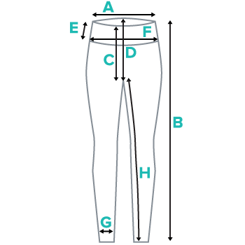 Womens Leggings Mmeasurements, Illustrated