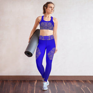 Blue and Gold Mandala Padded Sports Bra