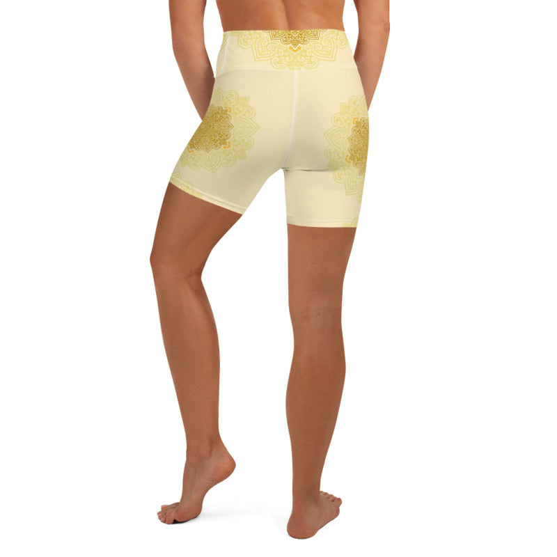 Gold Yellow Mandala Womens Yoga Shorts