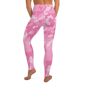 Pink Camouflage High Waist Womens Yoga Leggings