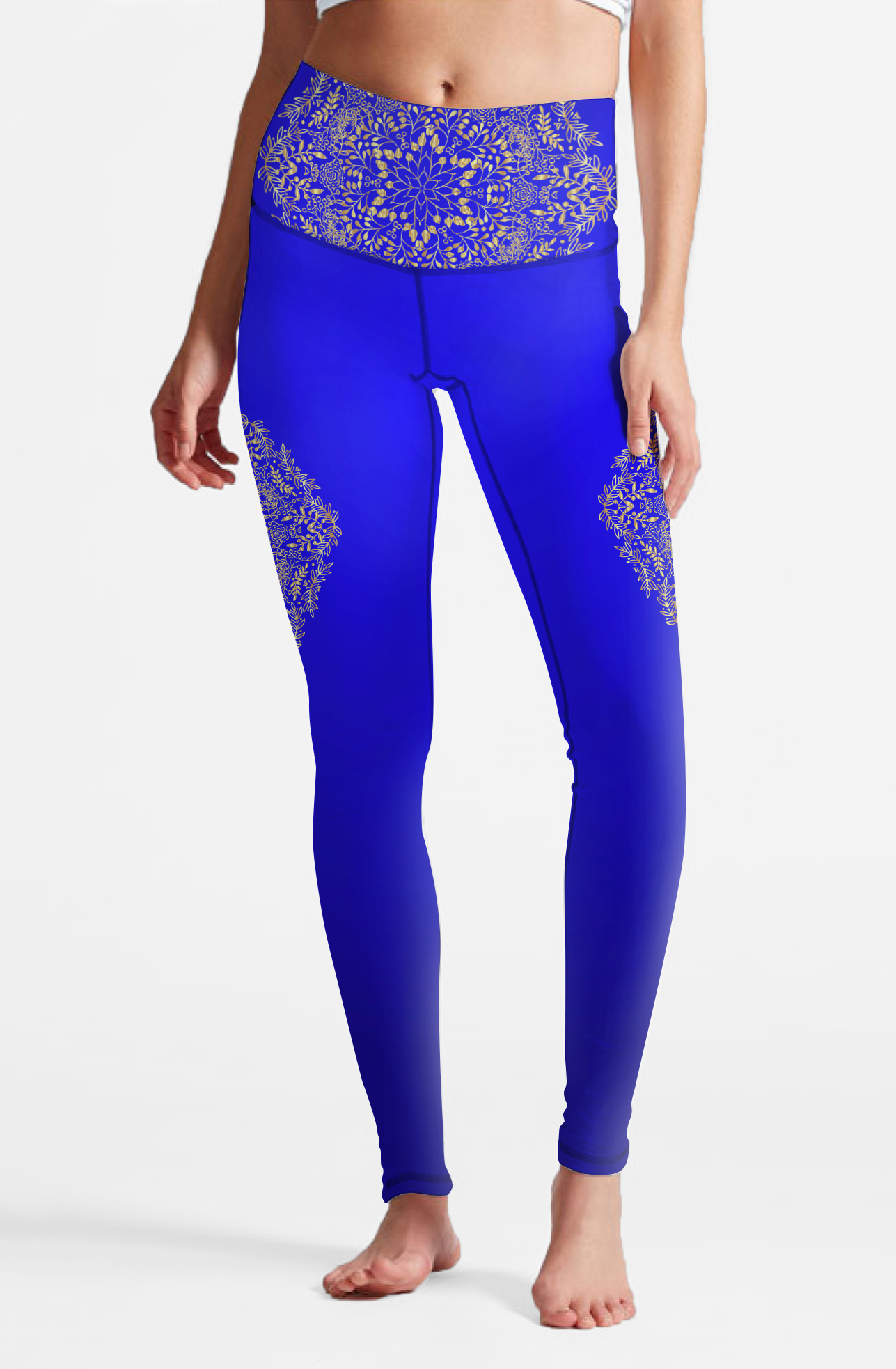 Eco Recycled Fabric Blue Mandala High Waist Leggings