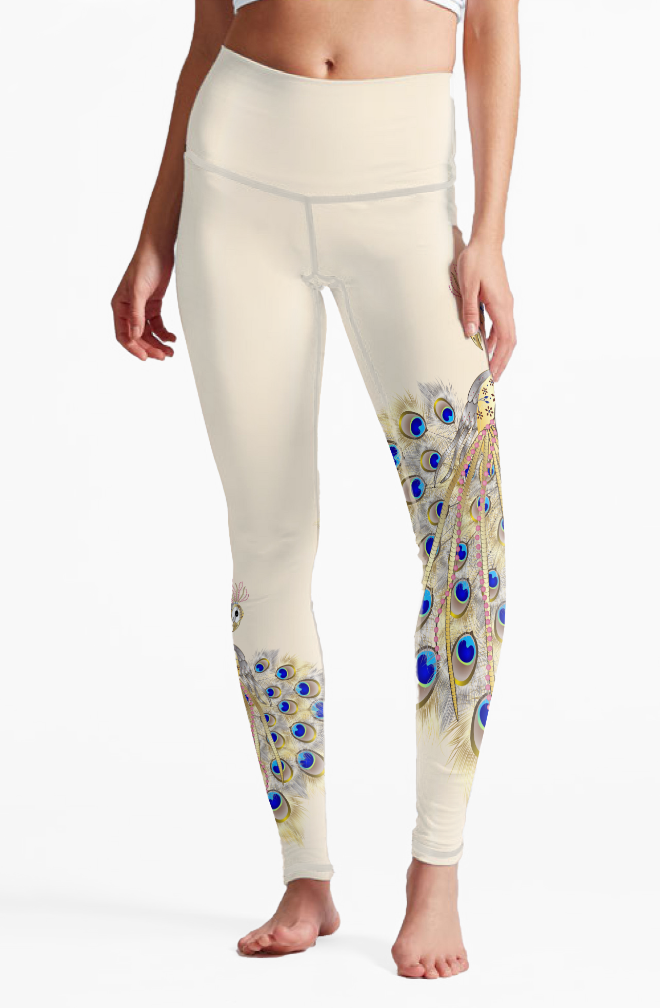 Eco Friendly Recycled Fabric Peacock High Waist Womens Yoga Pants