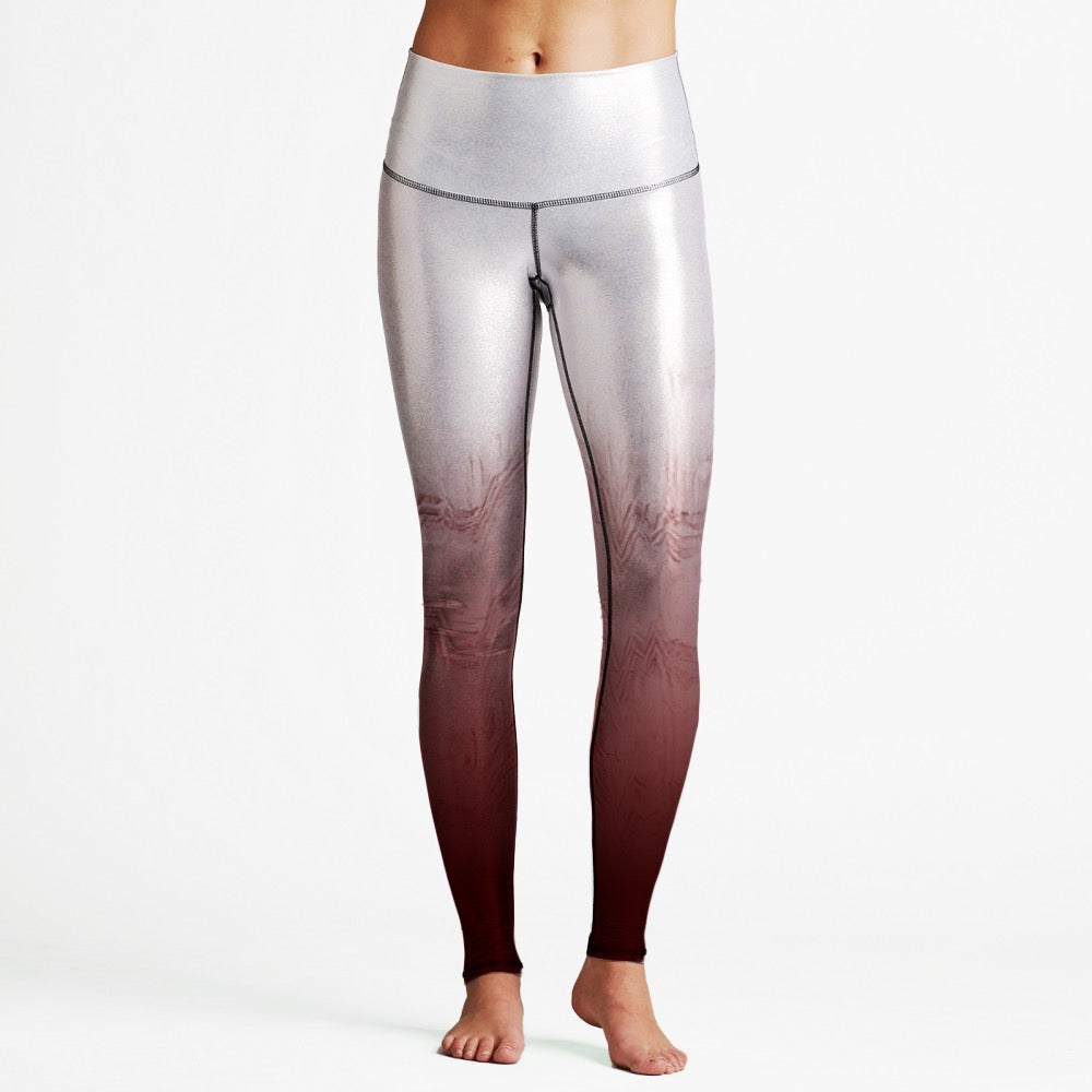 Silver/Red Texture Luxury High Waist Womens Yoga Leggings
