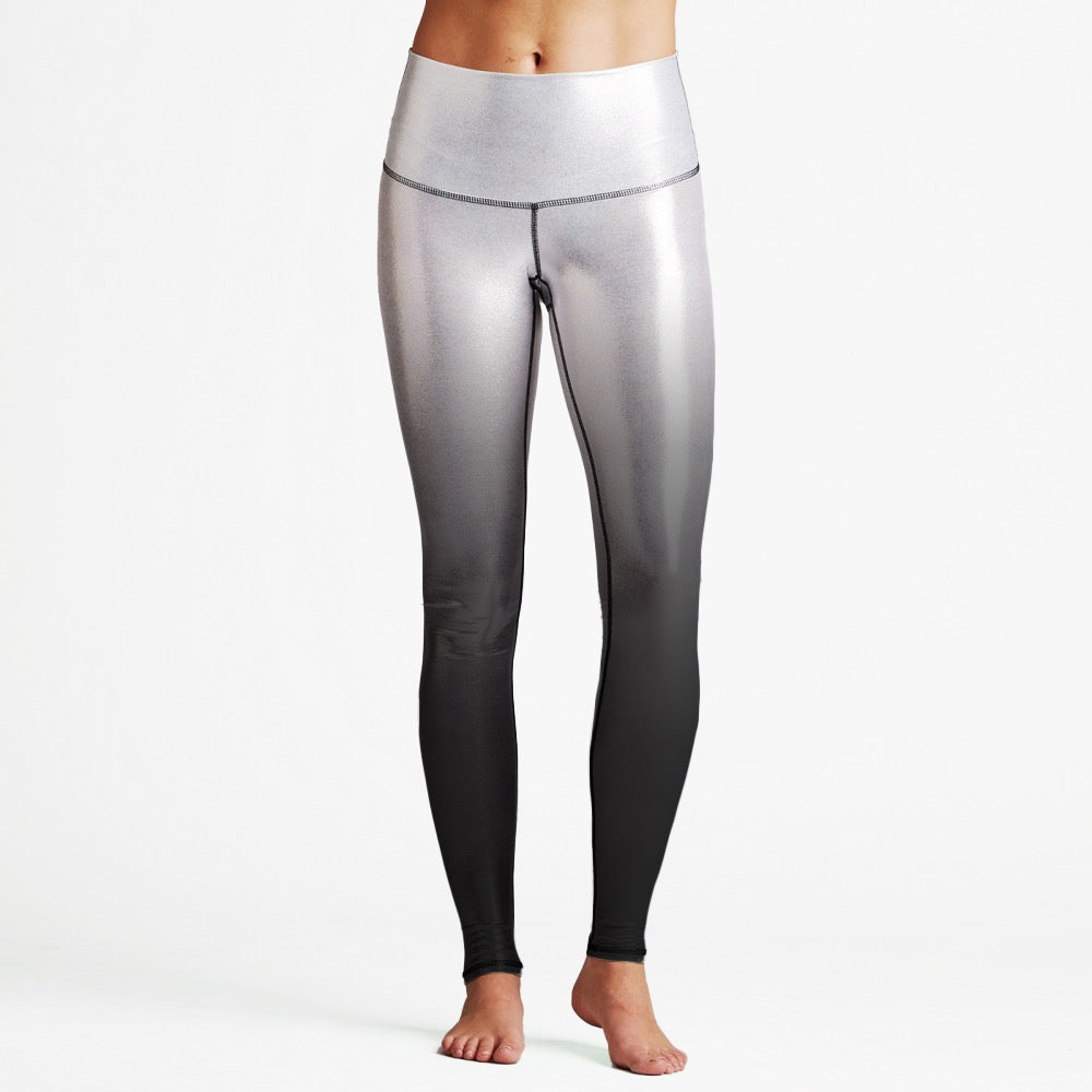 Silver/Black Luxury High Waist Womens Yoga Leggings