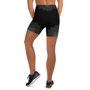 Black Grey Mandala Womens Yoga Shorts