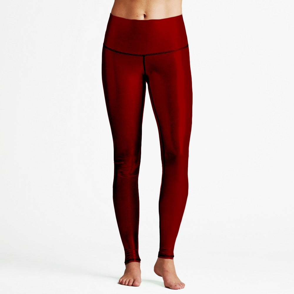 Deep Red Luxury High Waist Womens Yoga Leggings