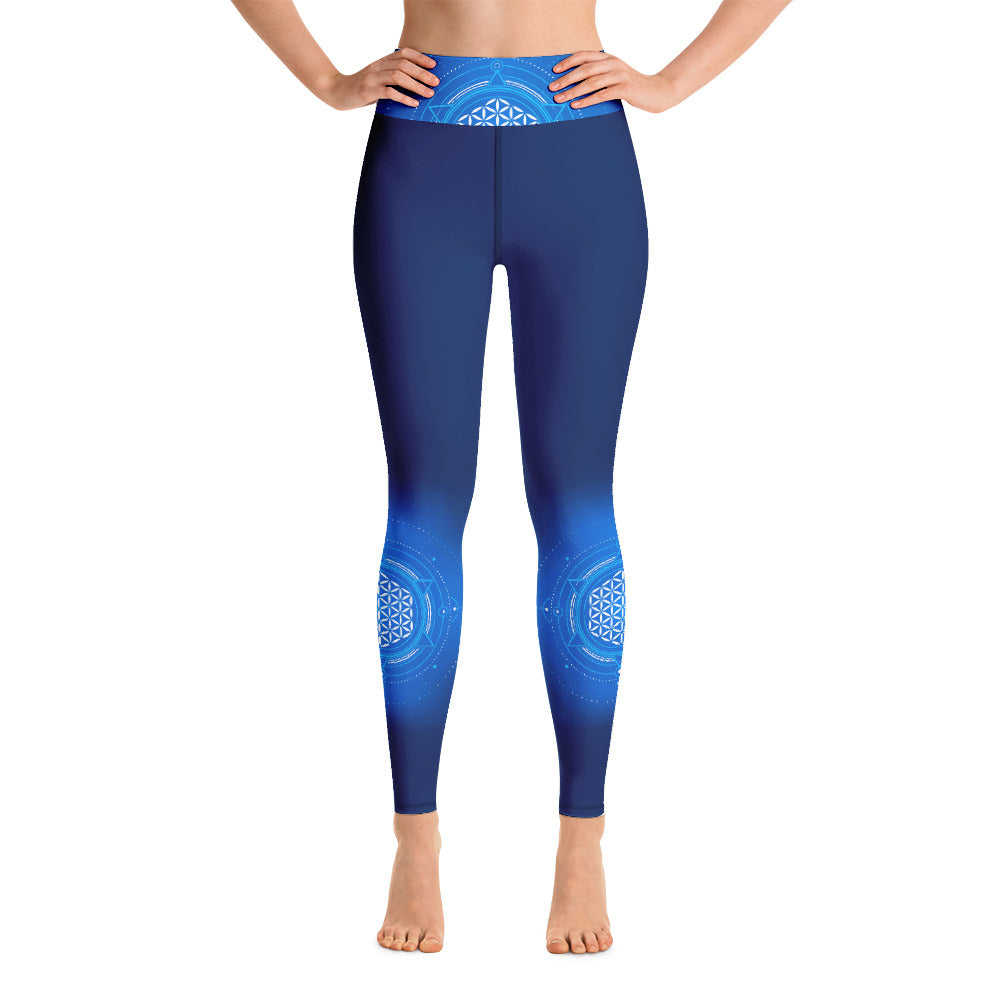 Flower of Life Blue Gradient High Waist Womens Yoga Leggings