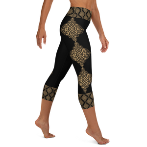 Ahimsa Gold Women's High Waist Yoga Capri Leggings
