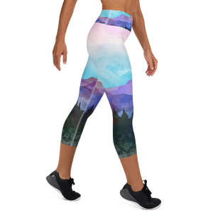 Shades of Nature (original art) High waist Yoga Capri Leggings