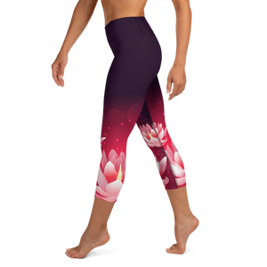 Lotus Womens High Waist Yoga Capri Leggings