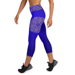 Blue and Gold Mandala High Waist Yoga Capri Leggings