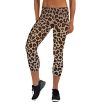 Leopard Print Womens Yoga Capri Leggings