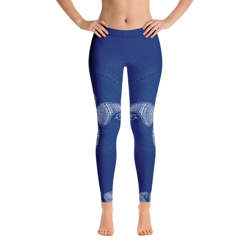 Blue Nadi - Original Henna Art Womens Yoga Leggings