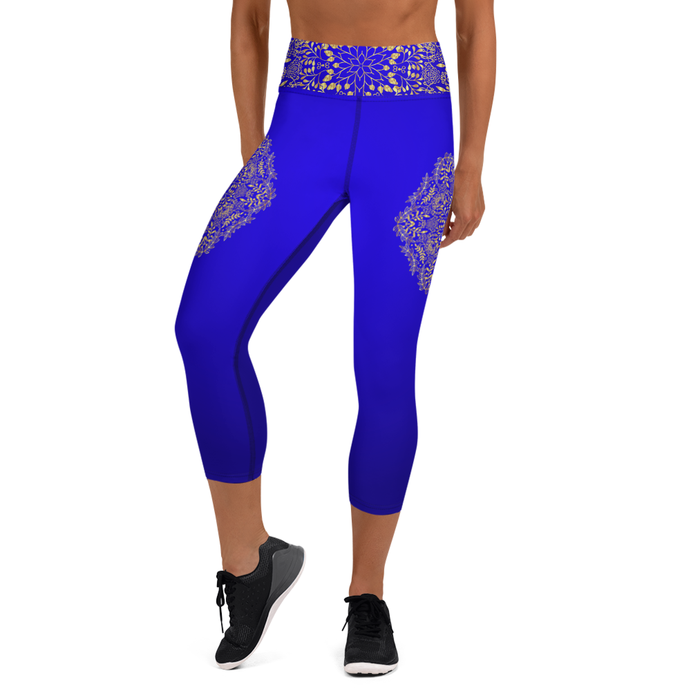 Blue and Gold Mandala Yoga Capri Leggings